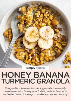 This healthy Banana Turmeric Granola recipe uses just 8 ingredients, and is also oil-free and naturally sweetened with honey. Such an easy homemade breakfast or treat!