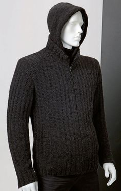 Ravelry: LadyJB's Novena - Herenvest met kap Lang Yarns, Cashmere, Ravelry, Men Sweater, Turtle Neck, Meet, Knitting, Sweaters, Fashion
