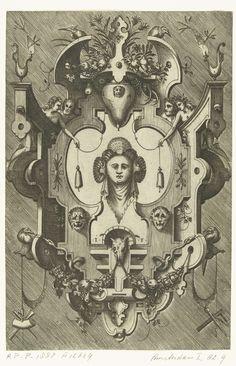Cartouche met het hoofd van een vrouw die drie schelpen in haar haar draagt, Pieter van der Heyden, 1567