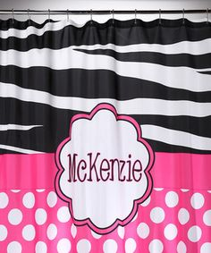 Look what I found on #zulily! Polka Dot & Zebra Personalized Shower Curtain by Tickled Pink NOLA #zulilyfinds