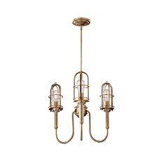 Urban Renewal Dark Antique Brass Three-Light Chandelier with Die Cast Zinc Shade