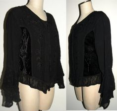 1990s 90s Blouse / Bewitching / Magical /  Black /  by JEWVENCHY