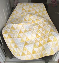 soft yellow triangle quilt