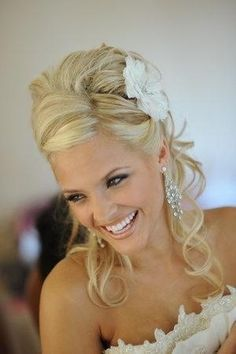 wedding hair. curled half up/half down