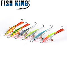 FISH KING 12G 68MM 3D Eyes 6 Color Ice Fishing Hook Jig Head Hard Lure Wobbler Lure With Treble Hook For Winter Fishing Lures #shoes, #jewelry, #women, #men, #hats, #watches