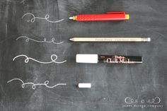 Four types of Chalkboard Chalk - Chalk Pencil (usually used for sewing and marking fabric - doesn't smudge and good for drawing details), Mechanical Chalk Pencil (used for sewing, makes skinny lines), Chalk Marker (for bold, smooth letters), Regular Chalk