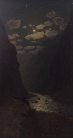 This painting reminds me of the Merced on a full moon.. Gevorg Bashinjaghian ( 1857-1925).