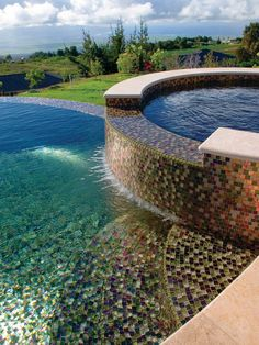 pool mosaic designs | ... Pools With Hot Tub And Mosaic Tile Pool Floor In Contemporary Pool