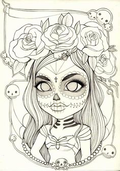 Skull Adult Coloring Page New 276 Best Adult Colouring Sugar Skulls Day Of the Dead Free Adult Coloring Pages, Coloring Pages To Print, Coloring Book Pages, Colorful Drawings, Colorful Pictures, Art Drawings, Sugar Skull Art, Sugar Skulls, Halloween Coloring