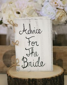 Bachelorette Bridal Shower Wood Rustic Guest Book 'Advise For The Bride'. $47.00, via Etsy.