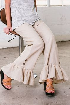 PC9013 HIGH QUALITY LINEN PANTS WITH RUFFLES ON THE BOTTOM Made in USA