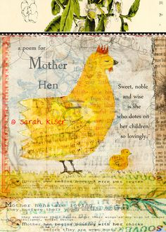 Mother Hen Blank Greeting Card by artist Sarah by ArtbySarahKiser, $5.00