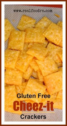 Gluten Free Cheez-it Crackers Nut free Simple ingredients recipe *** family approved – yum! *** Gluten Free Cheez-it Crackers Nut free Simple ingredients recipe *** family approved – yum! Gluten Free Cheez Its, Gluten Free Crackers, Gluten Free Treats, Dairy Free Recipes, Real Food Recipes, Chicken Recipes, Gluten Free Kids Snacks, Gluten Free Chips, Gluten Free Cereal
