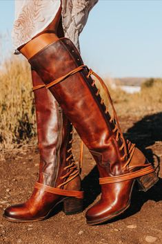 Cognac Boots, Tall Leather Boots, Tall Boots, Lace Up Boots, Crazy Shoes, Me Too Shoes, Leather Fashion, Fashion Shoes, Fall Fashion