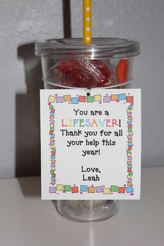"Cute and inexpensive gift idea for parent helpers OR you could change the last sentence to make it fittting for friends, neighbors, etc... that have come to your ""rescue."""