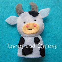 Katie Bairdie Had a Coo - cow finger puppet - pattern from Floral Blossom's Etsy Shop http://www.etsy.com/listing/68415680/pdf-pattern-farm-friends-felt-finger
