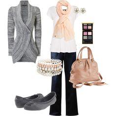 I love cardi's and scarfs.  And big purses.
