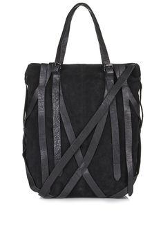 Topshop Strappy Suede and Leather Tote #style #bags #tote #black