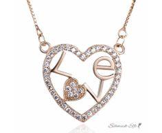 Collier Herz LOVE mit Zirkonias pave aus 925 Silber...