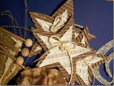 Music Star ornaments, made these last year, save that cardboard!  Cute and easy, for tree or gift tags.