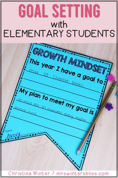 In my growth minded classroom student goal setting and reflection is routine practice. Even our youngest learners can have a clear understanding that a goal is just an area of weakness we need to strengthen and celebrate improvement! Help your students develop a growth mindset and set goals with these ideas and helpful lessons. By Mrs. Winters Bliss #growthmindset #elementarygrowthminset #goalsforelementary
