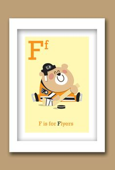 "Flyers Hockey ABC prints (5"" W x 7""H) - Set of 2 Unframed on Etsy, $20.00 for son's room"