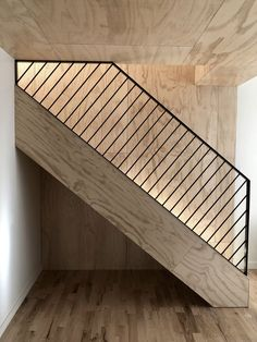 Design Detail – These Wood Stairs Have A Handrail With Hidden Lighting Loft Staircase, House Stairs, Stair Railing, Stairs To Loft, Metal Railings, Basement Stairs, Tiny House Loft, Railing Design, Staircase Design