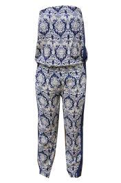 Broekpak / jumpsuit donker blauw gebroken wit #jumpsuit #broekpak #fashion #mode #print
