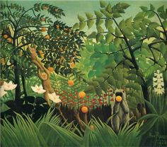 """""""Paisaje exótico"""" (1910). HENRY ROUSSEAU (1844 - 1910). Insólito pintor francés cuyo abandono voluntario de las leyes de la perspectiva y del color, dieron lugar a que se le calificara de pintor PRIMITIVO y NAIF (ingenuo)."""