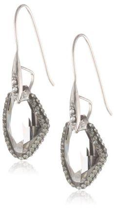 Sterling Silver Swarovski Crystal Abstract Drop Earrings