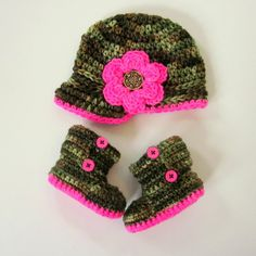 Baby girl camo - now made with hand-dyed superwash merino yarn!!