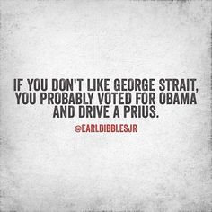 If you don't like George Strait you probably voted for Obama and drive a Prius Country Music Quotes, Country Lyrics, Funny Country Quotes, Quotes To Live By, Me Quotes, Funny Quotes, Earl Dibbles Jr Quotes, George Strait Quotes, George Strait Jr