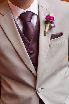 groomsmen in eggplant and beige.