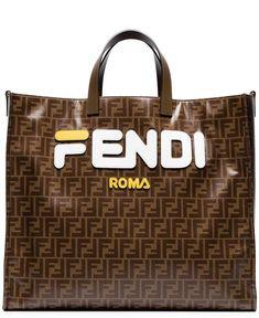 1a533254480e Fendi Fendi Mania Brown And White Large Logo Print Tote Bag - Farfetch