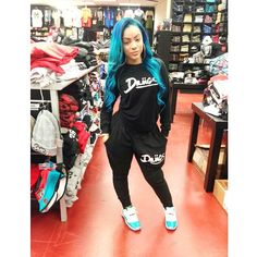 Drugs Tracksuit Set Jumper Sweater Bottoms Sweat Pants Jordans Teal Green Hair Blue Hairstyle Curly Wavy Suzie White