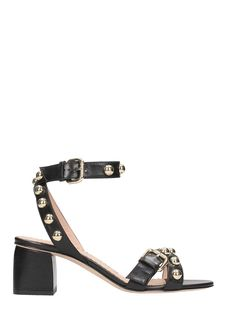 80b55140404 RED VALENTINO BLACK LEATHER STUDDED SANDALS.  redvalentino  shoes