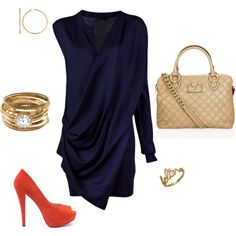 blue swooping dress and gold and red is FABULOUS!