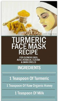 Turmeric Face Mask Recipe for Glowing Skin Acne Rosacea Eczema and Dark Circles - 15 Best Natural Eczema Remedies Treatments Tips and Tricks Acne Rosacea, Acne Skin, Acne Scars, Pimples, Rosacea Symptoms, Natural Acne Remedies, Eczema Remedies, Skin Care Tips, Home Remedies