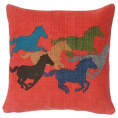 "(JM-RHP) ""Running Horses"" Decorative Pillow"