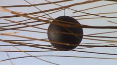 """Gravity defying bamboo sculptures. Enjoy laurent martin """"Lo"""" works, bamboo calligraphy floating in the air: equilibrium, harmonized tensions, subtle movements, light and shadows..."""
