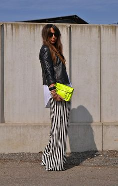 striped palazzo pant, neon. amazing.