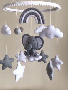 Rainbow Theme Baby Shower, Rainbow Baby, Nursery Décor, Elephant Nursery, Baby Duvet, Elephant Mobile, Baby Mobile Felt, Hanging Mobile, Baby Furniture