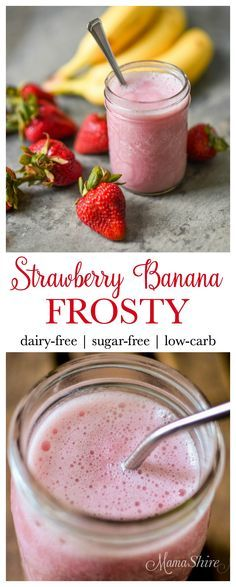 Delicious and refreshing Strawberry Banana Frosty. A mock strawberry banana shake that is dairy-free, sugar-free, and low-carb. THM (E)