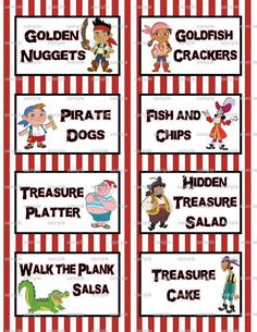 Jake and the Neverland Pirates Birthday Party 3.5x2.5 Flat Labels for Food Tables, Candy Buffet Folding You Print. $2.99, via Etsy.