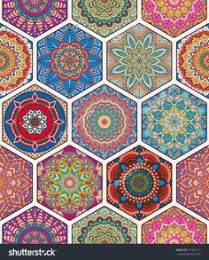 Perfect for printing on fabric or paper. - compre este vetor na Shutterstock e encontre outras imagens. Turkish Pattern, Arabic Pattern, Mandala Wallpaper, Pattern Wallpaper, Tile Patterns, Textures Patterns, Hexagon Patchwork, Art Chinois, Art Japonais