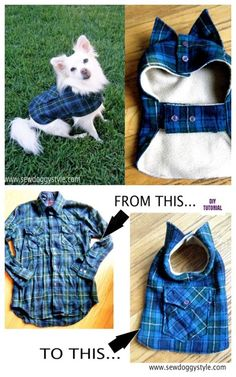DIY Pet Coat and Sweater Free Sew Patterns & Tutorials- DIY Pet Coat and Sweater Free Sew Patterns & Tutorials DIY Recycled Shirt Pet Coat Free Sew Patterns & Tutorials - Dog Sweater Pattern, Crochet Dog Sweater, Dog Vest, Dog Jacket, Recycled Shirts, Puppy Clothes, Animal Clothes, Small Dog Clothes, Dog Clothes Patterns