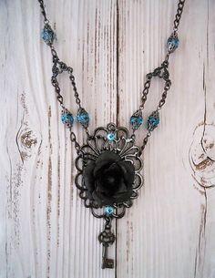 Black Rose Necklace Gunmetal, Gothic Aqua Black Pendant, Statement Jewelry by BackAlleyDesignsINK on Etsy