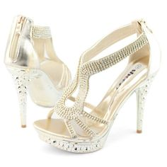 Sexy Women's Rhinestone Strappy Zip High Heeled Platform Sandals