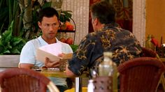"""""""So it looks like our buddy Bill had a hell of a career in the marines. Big deal sniper. Awful busy during Gulf I. And the fact that Carla put a Dragunov in this guy's hands…"""" [Sam] Pictured: Michael Westen (Jeffrey Donovan) and Sam Axe (Bruce Campbell)"""