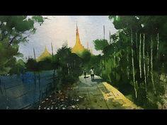 Watercolor Speed Painting of Global Vipassana Pagoda Mumbai. Process of watercolor painting step by step full length demonstration by Prashant Sarkar. Vipassana Meditation, Speed Paint, Step By Step Painting, Watercolour Painting, Mumbai, Landscape, Legos, Drawings, Artwork